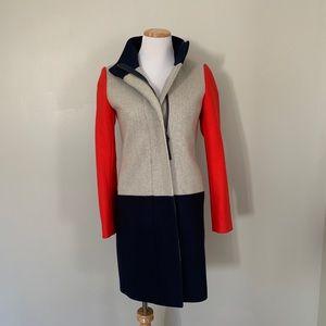 Size 0 J. Crew Wool Colorblock Coat